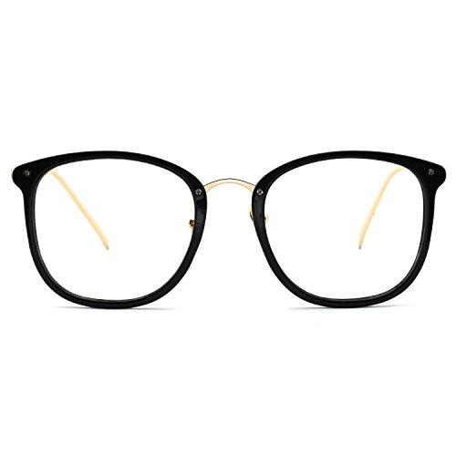 - OCCI CHIARI Non Prescription Round Optical Eyewear Frames Fashion Clear Lens Glasses For Women 49mm (Black)