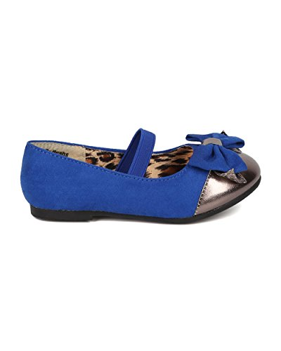 JELLY BEANS Saroya Gold Cap Round Toe Ballet Flat Bow Elastic Mary Jane (Toddler) AC85 - Royal Blue Faux Suede (Size: Toddler 6) by JELLY BEANS (Image #1)