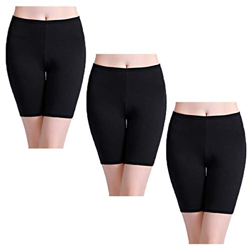 - wirarpa Womens Black Anti Chafing Cotton Underwear Shorts Long Leg Under Dresses Biker Short Leggings 3 Pack Size 8