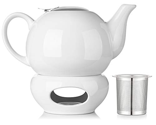 DOWAN 44oz Teapot With Warmer & Stainless Steal Infuser & Lid, White