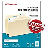 Office Depot White Permanent Inkjet/Laser File Folder Labels, 2/3in. x 3 7/16in, White, Pack Of 750, 505-0004-0011