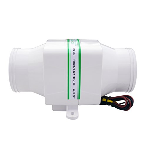 ECO-WORTHY Marine Blower Bilge Vent Fan Ventilation In-Line Marine Bilge Air Blower 130 CFM 3