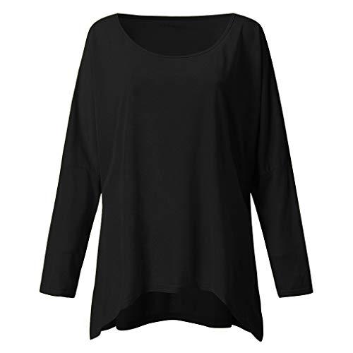 WILLBE Casual Loose Blouse,Women's Solid Color Long Sleeve Sweatshirt T-Shirts Tops Fashion Shirts Plus Size T Shirt Black (Akademiks Striped Polo Shirt)