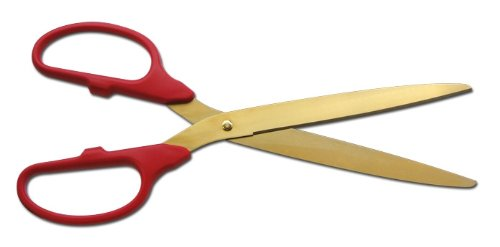 Deluxe Grand Opening Kit - 36'' Red/Gold Ceremonial Ribbon Cutting Scissors with 5 Yards of 6'' Red Grand Opening Ribbon, 2 Red Bows and 2 White Plastic Stanchions