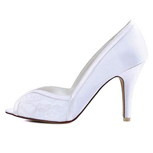 Dita Toe Qiusa Due Dimensione Bianco 5 Sera Di colore Bicolore In Peep Sandali Punta A Da Uk Pizzo Raso 5 Sposa 11rOZSq