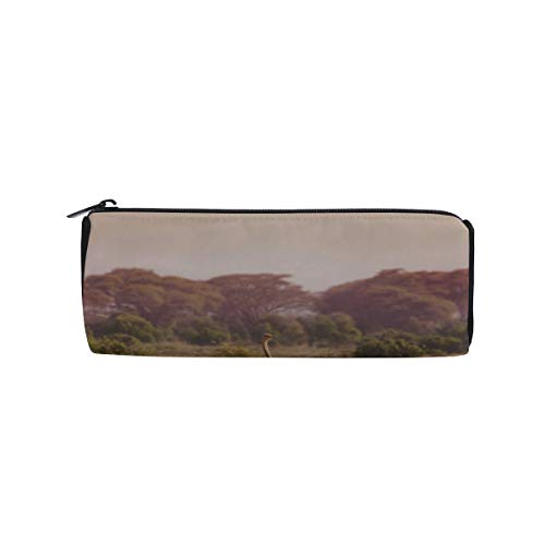 African Ostrich in Nature Reserve Park Students Super Large Capacity Barrel Pencil Case Pen Bag Cotton Pouch Holder Makeup Cosmetic Bag for Kids