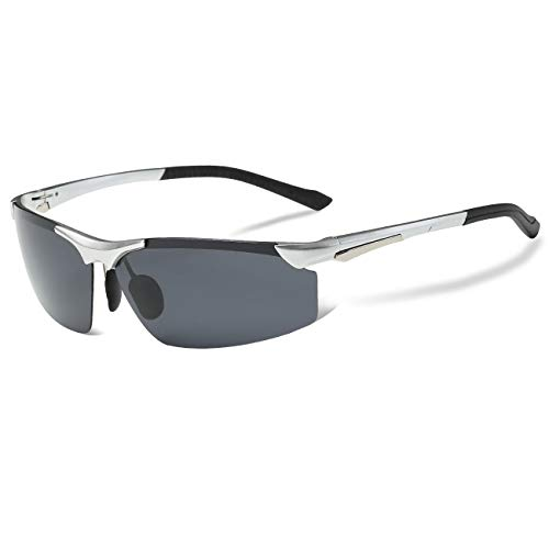 COSVER Mens Sports Style Polarized Sunglasses for Driving Cycling Running Fishing Golf Unbreakable - Metal Frame Al-Mg Glasses (2578-Silver, Clear)