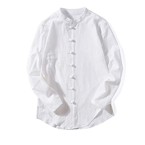 Mens Cotton Linen Long Sleeve Shirt Solid Loose Banded Collar Button Tai Chi Top(White,Bust:36