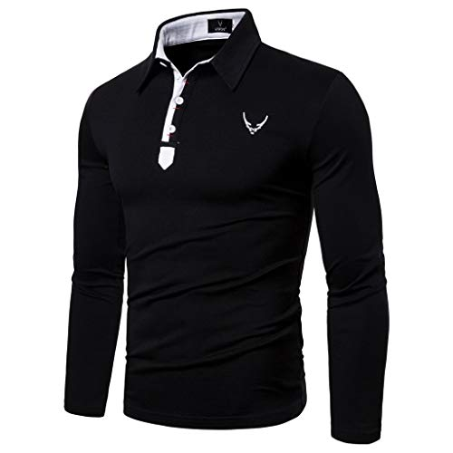 Allywit-Mens Casual Fashion Patchwork Polo Golf Long Sleeves T-Shirt Top Blouse Black (Furniture Uk Waterproof For Outdoor Cushions)