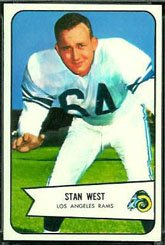 1954 Bowman Regular (Football) card#103 Stan West of the Los Angeles Rams Grade Very - Cards Football 1954