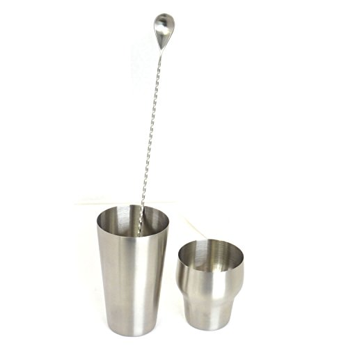 HAPPYNUTS BARWARE Cocktail Shaker Sets Include 30-OZ 2-Piece Stainless Steel Cocktail Shaker and Mixing Spoon, Silver by HAPPYNUTS