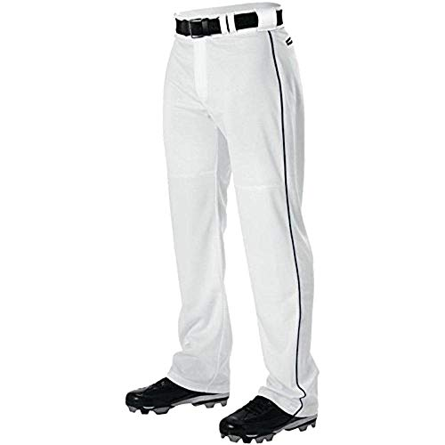 Alleson Adult Pro Warp-Knit Baseball Pants - Full Relaxed Fit with Piping - White/Navy - Medium