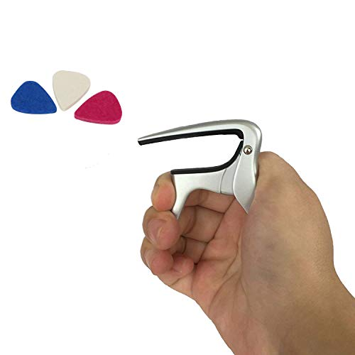 Uke Capo, Heavy Duty Ukulele Capo, Single-handed Use Uke Capo, Trigger Capo for Soprano, Tenor, Baritone Ukulele with 3 Felt Picks