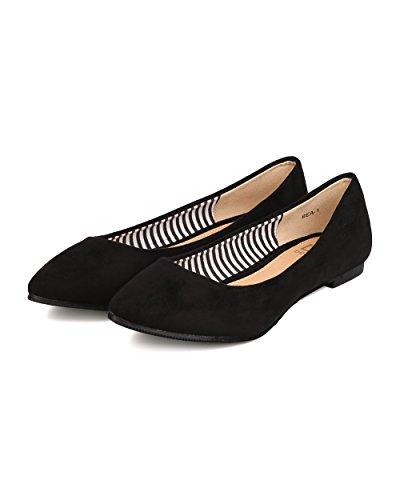 BETANI FE12 Women Faux Suede Pointy Toe Ballerina Flat Black 3Gyk0TgKQ