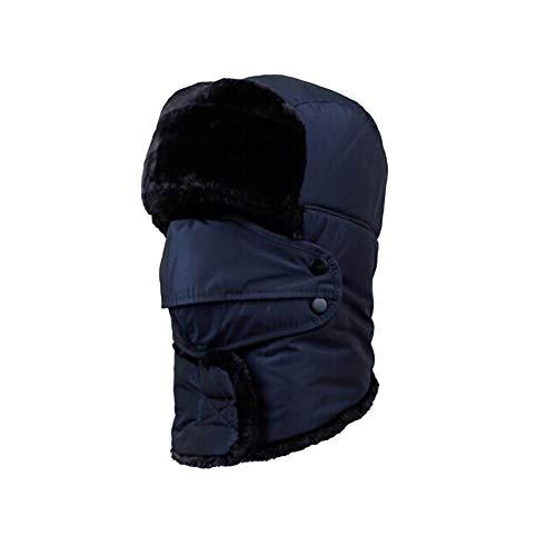 LHL Sunny Hats Windproof Unisex Balaclavas Ear Flap Outdoor Mouth Mask Face Shield Bomber Pilot Snow Ski (Color : Blue, Size : 55-60cm)