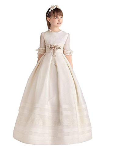 (Zaozc Girl's Ball Gown Half Sleeves First Communion Flower Girl)