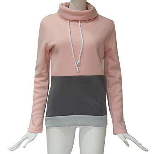 Blusa Rosa Color Larga Mujeres Tops Casual Block Top Sudadera Lady Jumper Manga Pullover Moda Overdose YvqTnxtw65