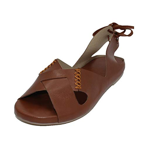 Women's Summer Sandals,Casual Peep Toe Comfortable Bohemian Bandage Back Flip Flops Beach Shoes (US:9, Brown)