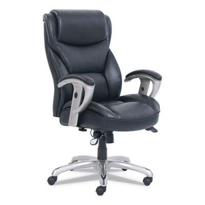 Sertapedic Emerson Big and Tall Task Chair, 22w x 21 1/2d x 22 1/2h Seat, Black Leather -
