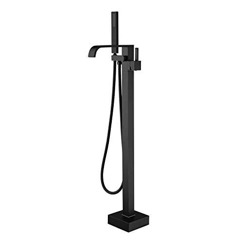 Freestanding Bathtub Faucet Tub Filler Black Floor Mount Bathroom Faucets Brass Single Handle with Hand Shower