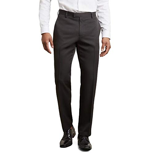 Kenneth Cole Reaction Men's Urban Heather Slim Fit Flat Front Dress Pant, Black, 34Wx30L