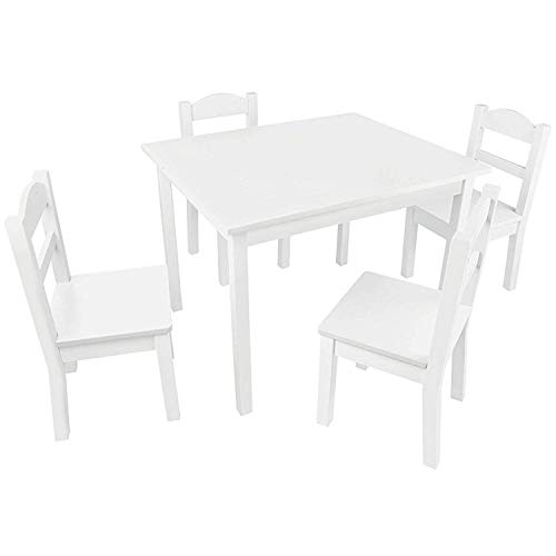 Pidoko Kids Table and Chairs Set - 4 Chairs and 1 Activity Table for Children - Educational Toddlers Furniture Set (White) (Wood Barn Chairs)