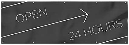Open 24 Hours Basic Black Wind-Resistant Outdoor Mesh Vinyl Banner CGSignLab 12x4