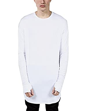 Men's Long Sleeve Shirts Hipster Hip Hop Thumb Hole Cuffs Basic T Shirt