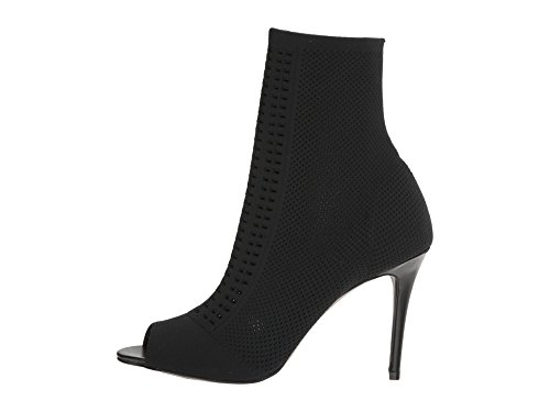 Charles By Charles David Mujeres Rebellious Open Toe Botaie Black Stretch Knit