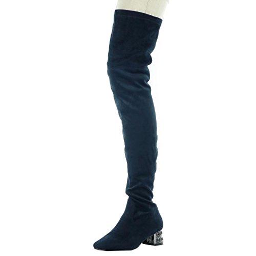 Angkorly - Zapatillas de Moda Botas Altas botas altas flexible mujer joyas Talón Tacón ancho alto 4.5 CM Azul