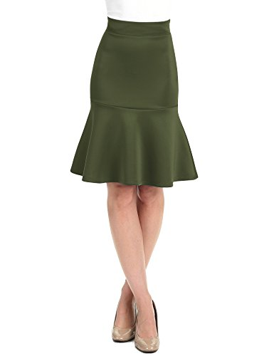 WT1471 Womens High Waist Bodycon Fishtail Midi Skirt M Olive
