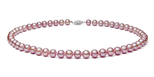 6.5-7mm Sterling Silver Pink Freshwater Cultured Pearl Necklace AAA Quality 18