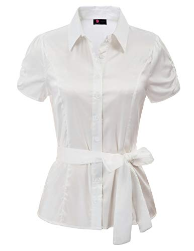 KANCY KOLE Women's Short Sleeve Tops Satin Blouse Button Down Casual Shirts for Work (Ivory,M)