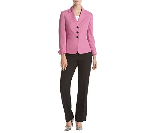 LeSuit Colorblocked Twill Three-Button Pantsuit Orchid Black