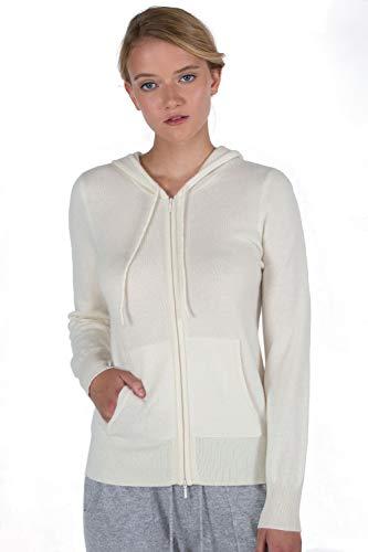 JENNIE LIU Women's 100% Pure Cashmere Long Sleeve Zip Hoodie Cardigan Sweater (M, Cream)