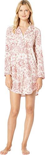 - Lauren Ralph Lauren Women's Classic Knit Long Sleeve Notch Collar Sleepshirt Red Cream Paisley Print Large
