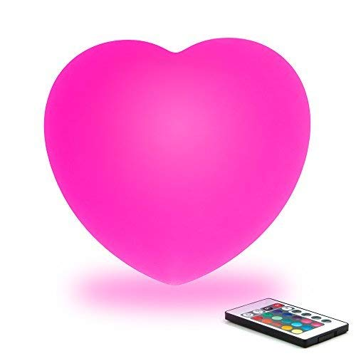 le RGB Color Changing LED Heart Lamp w/Remote Wireless Rechargeable LED Night Light Mood Lighting Lamps for Kids Room Nursery Adult Bedroom Bedside Home Decoration Romantic ()