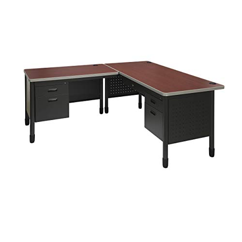 OFM Mesa Series Single Pedestal L-Shaped Desk with Left Pedestal Return with Laminate Top, in Cherry (66366L-CHY)