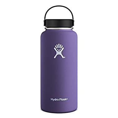 Hydro Flask 32 oz Vacuum Insulated Stainless Steel Water Bottle, Wide Mouth w/Flex Cap, Plum