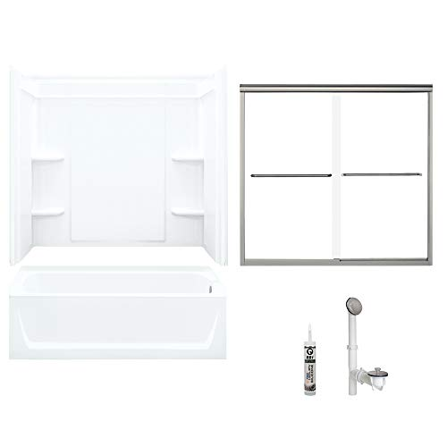 Sterling 7132R-5405NC-B-0 Ensemble 60-in x 32-in Vikrell 5-Piece Bath and Shower Kit with Backers/Clear Door, 72-in L x 40-in W x 48-in H, White/Brushed - Nickel Inch 60 Ensemble Brushed