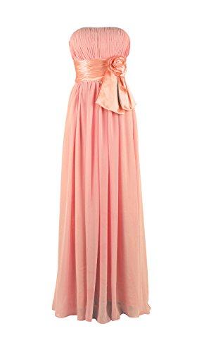 Für Blume Langes Mit Ballkeid Yiyadawn Brautjungfernkleid Damen Koralle