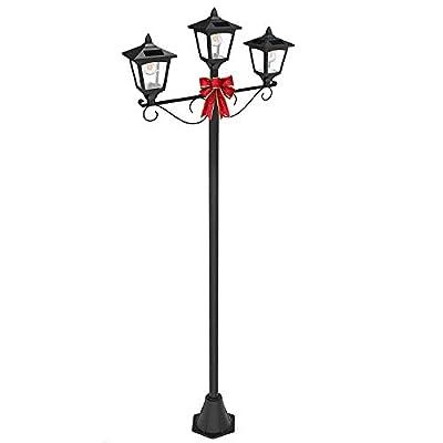 "Christmas 72"" Triple Head Street Vintage Outdoor Garden Post Solar Lamp Post Light Lawn - Adjustable"