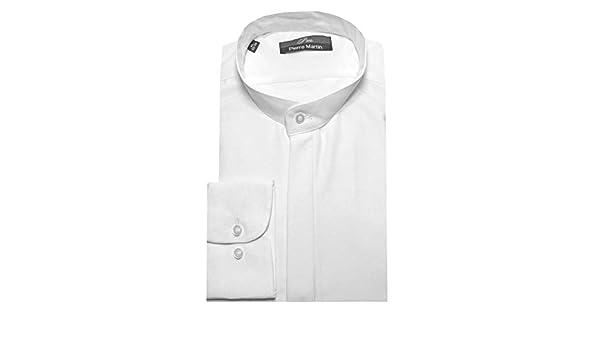 Pierre Martin DP 0001 Camisa de cuello alto blanco Varilla Cuello Oculta Algodón de microfibra - algodón, blanco, 40% pes 60% algodón, hombre, XXL / 45/46: Amazon.es: Ropa y accesorios