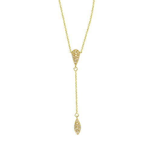 14k Yellow Gold Diamond Accented Y-shape Lariat Style Necklace with Drop by AzureBella Jewelry