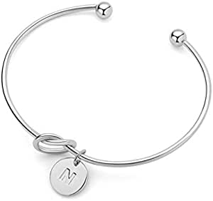 Women Silver Bracelet with N letter pandent