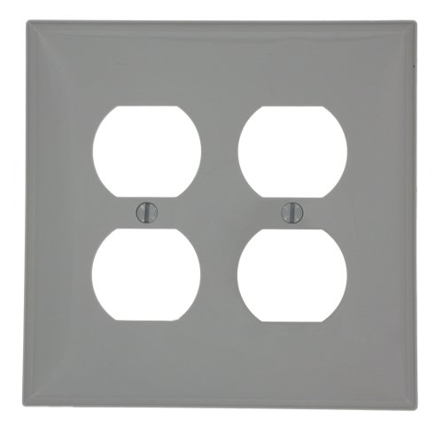 Leviton PJ82-GY 2-Gang Duplex Receptacle Wallplate, Midway Size, - Receptacle 2 Gang Wall Plates