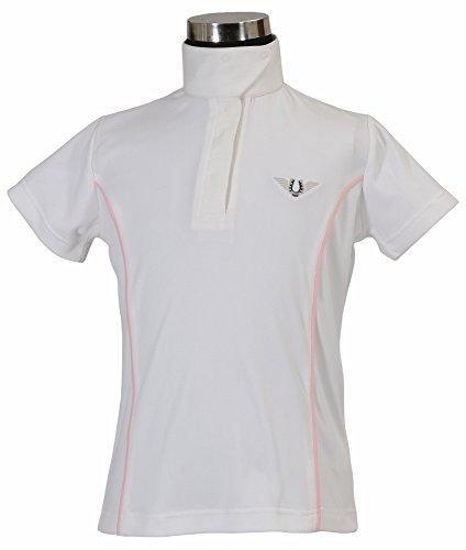 TuffRider Girl's Kirby Kwik Dry Short Sleeve Show Shirt, White/Pet Pink, Large