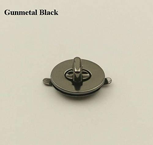 Gunmetal Flap Wallet - FidgetKute Metal Oval Twist Turn Lock Flat Clasp Purse Flap Knob Clutch Wallet Closure Fix Gunmetal Black 2923mm / 1-1/8