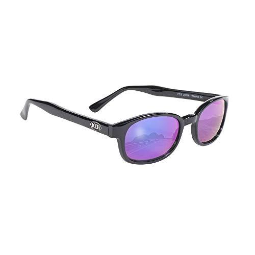 KDs Sport Motorcycle Sunglasses Black Frame Colored Mirror Lens, adult