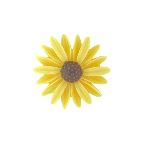 Sunflower Resin - 8pcs Resin Sunflower Cabochons Size 27x26x7mm ColorYellow